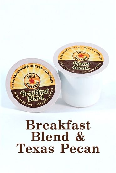 Texas Pecan flavored coffee and Breakfast Blend, box of 30 pods (15 each), roasted fresh in Houston, Texas.