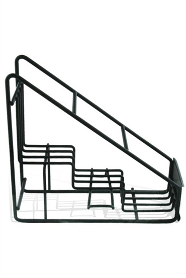 Strong, 3 tiered metal rack for syrup display or storage.