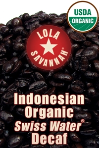 Indonesian Organic Swiss Water® Decaf Fair Trade coffee, whole bean or ground, roasted fresh in Houston, Texas.
