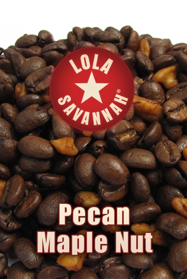 Pecan Maple Nut flavored coffee, whole bean or ground, roasted fresh in Houston, Texas.