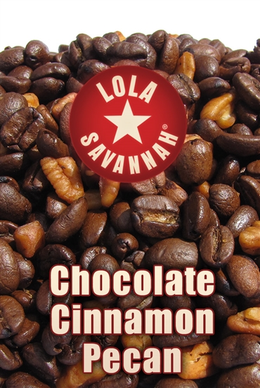 Chocolate Cinnamon Pecan flavored coffee, whole bean or ground, roasted fresh in Houston, Texas.