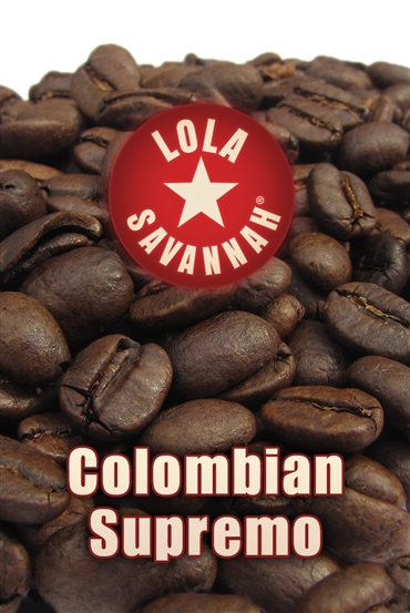 Colombian Supremo coffee, whole bean or ground, roasted fresh in Houston, Texas.