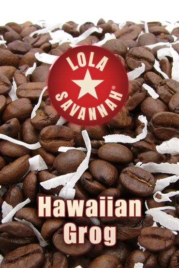 Hawaiian Grog flavored coffee, whole bean or ground, roasted fresh in Houston, Texas. You don't need to be Hawaiian or groggy to enjoy this special mix of 100% Arabica beans, Highland crème flavoring, and just a hint of coconut crème flavoring.