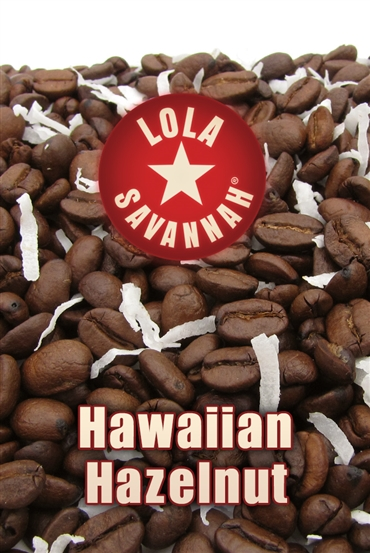 Hawaiian Hazelnut flavored coffee, whole bean or ground, roasted fresh in Houston, Texas.