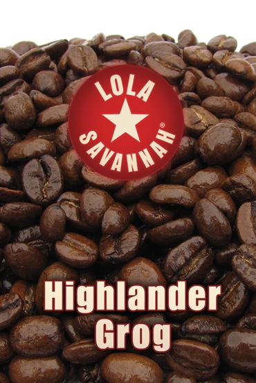 Highlander Grog flavored coffee, whole bean or ground, roasted fresh in Houston, Texas.