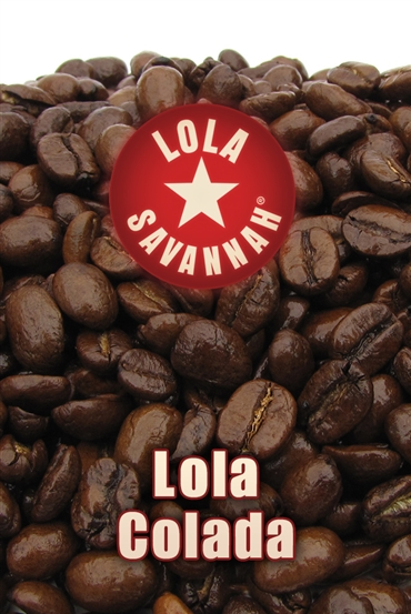 Lola Colada flavored coffee, whole bean or ground, roasted fresh in Houston, Texas.