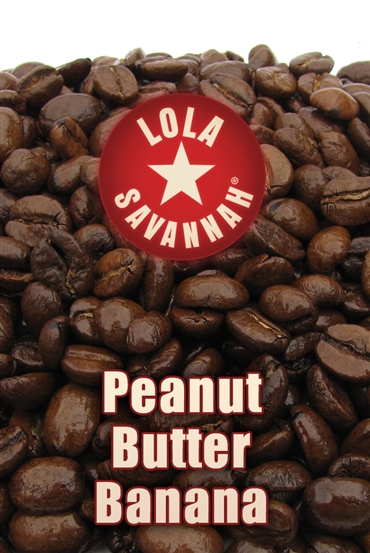 Peanut Butter Banana flavored coffee, whole bean or ground, roasted fresh in Houston, Texas.