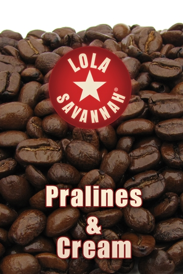 Pralines and Cream flavored coffee, whole bean or ground, roasted fresh in Houston, Texas.