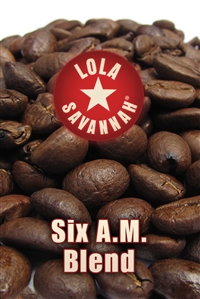 Six A.M. Blend coffee, whole bean or ground, roasted fresh in Houston, Texas.