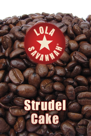 Struedel Cake flavored coffee, whole bean or ground, roasted fresh in Houston, Texas.