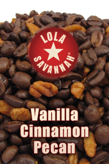 Vanilla Cinnamon Pecan flavored coffee, whole bean or ground, roasted fresh in Houston, Texas.